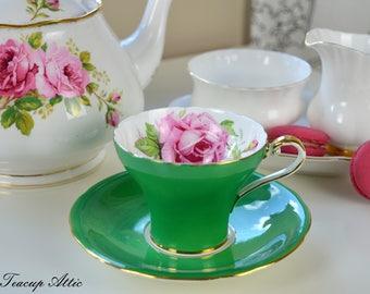 Aynsley Green Corset Teacup and Saucer With Large Pink Rose,  English Bone China Tea cup Set, Tea Party, ca. 1934-1939