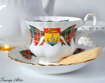 Royal Albert New Brunswick Tartan Teacup and Saucer, Provincial Tartan, English Bone china, Garden Party, New Brunswick Day, ca. 1962