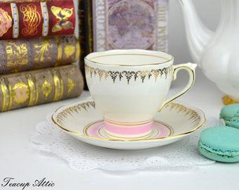 Roslyn Bone China Art Deco English Teacup And Saucer Set,  English Bone China Tea Cup Set,  ca. 1950-1960