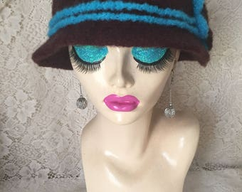 Dark Brown Vintage Inspired Crocheted Felted Cloche Flapper Hat 'Molly'