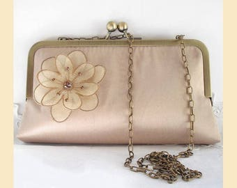 Wedding clutch bag with shoulder chain in taupe silk with floral corsage and Swarovski crystals, bridal purse, optional personalisation