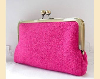 Harris Tweed clutch bag, pink clutch, tweed purse, blue silk, pink tweed, pink purse, optional personalisation