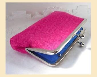 Harris Tweed bag, pink clutch, Harris Tweed clutch, pink purse, tweed purse, cobalt blue silk, pink tweed, personalised
