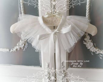 White tulle lace pleated Detachable Collar Peter Pan Collar Cape capelet satin Bow, goth, gothic accessories bolero , Cocktail Dress ,choker