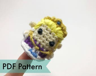 Zelda from Legend of Zelda Crocheted Amigurumi Finger Puppet PDF Pattern