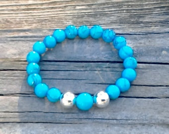 Natural Turquoise and Sterling Silver Beaded Stretch Bracelet in multiple sizes