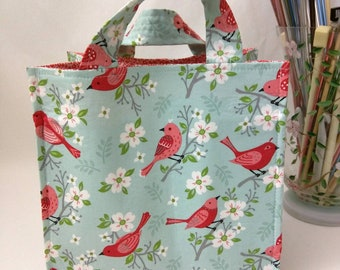 Medium Nest Basket with Organizer Pockets - Cherry Blossom Songbirds