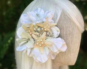 Bridal barrette - starfish hair clip - bridal hair clip - mermaid costume - mermaid barrette - beach wedding - READY TO SHIP.
