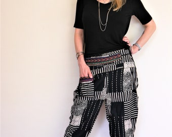Boho pants, Boho chic, Hippie pants, Amonchai Bohemian Thai hill tribe, Black and White. Express shipping