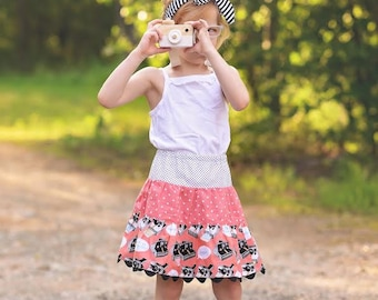 Girl Twirl Skirt, Toddler Skirt, Little Girl Skirt, Camera Skirt, Toddler Clothing, Girl Clothing, Girl Clothing, Handmade Skirt