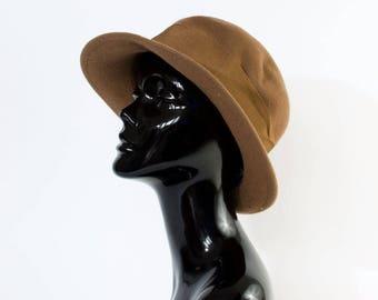 """Vintage Women's Brown Felted Wool Wide Brim Hat Medium 56cm 22"""""""