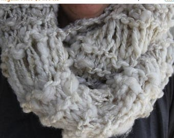 XMAS IN JULY up to 50%off Sale Hand Knit Bulky Infinity (Cowl) Scarf, in Off White and made of Super Bulky Handspun Yarn