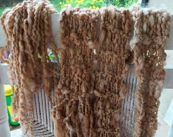 XMAS IN JULY up to 50%off New Hand Knit Bulky Scarf, named Shinny Penny,in Light Copper with copper thread,  Super Soft Handspun Wool Yarn