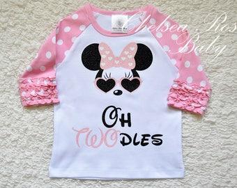 Glitter Minnie Mouse OH Two-dles Shirt, Minnie Disneyland Shirt, Minnie Birthday shirt, Red Glitter Minnie Mouse, Red Minnie Mouse Hair bow