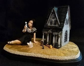 Second Payment, RESERVED, Favorite Doll, OOAK Hand Sculpted Gothic Girl with Haunted Dollhouse Art Doll Collectible
