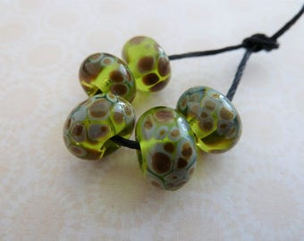 handmade lampwork glass beads, green raku frit set UK