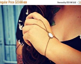 VACATION SALE pearl slave bracelet, pearl hand chain, bracelet ring, ring bracelet, boho bracelet,  hipster bracelet, slave ring