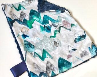 Mountains Baby Boy MINKY Lovey Blanket, MINI Minky Baby Blanket, Taggie Blanket, Adventure Awaits Navy Blue Lovey Blanket, Baby Shower Gift