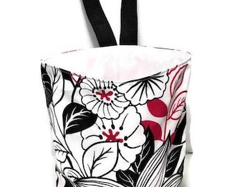 Car Trash Bag, Litter Bag, Car Accessory, Storage Bag, Trash Bag, Waterproof Car Bag, Floral Red Print Bag, Car Organizer Bag