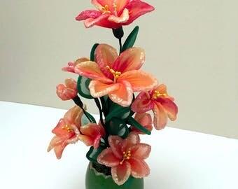 Handmade Nylon Flower Arrangement, Nylon Flower, Nursery Décor, Handmade Flowers,Unique Gift  Idea,Gifts for Girl,Artificial flowers,