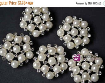 ON SALE Metal Pearl and Rhinestone Button with Loop 25mm - Flower Centers - Wedding Bridal Prom - Ivory - Shank - Wholesale Pearls Craft Sup