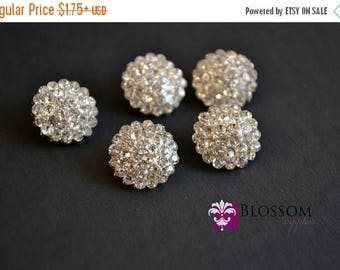 ON SALE Rhinestone Metal Buttons Crystal Clear 13mm - Flower Centers - Wedding Bridal Prom Jewels Blossom Supplies Wholesale Clear Stones Sp
