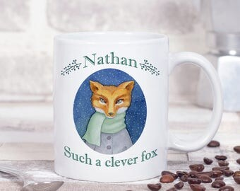 Personalised Christmas Fox Mug - Festive Winter Mug - Gifts For Fall - Gifts For Christmas - Festive Fox Art