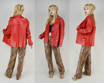 80s Lipstick Red Leather Boxy Jacket Coat M