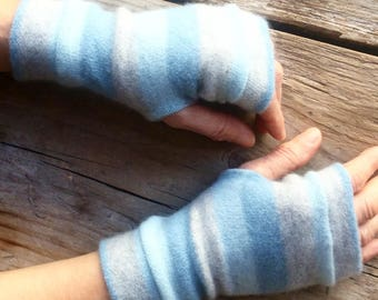 Fingerless Gloves in soft blues in cashmere, wrist warmers, typing gloves