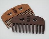 Peigne à barbe en bois - Peigne à moustache - Peigne pour homme personnalisé - Peigne à barbe Unik-Art 2.0