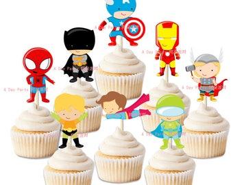 10 Marvel Avengers cupcake toppers, boys birthday party, superheros birthday party, Spiderman, Batman, Iron man, Captain America, Thor