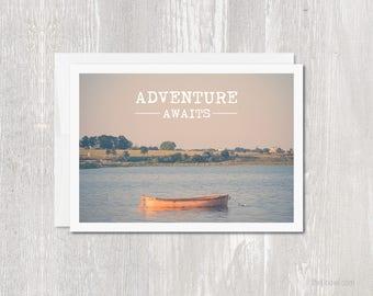 Greeting Card Adventure Awaits | Seascape Yellow Boat | Typography | Travel Wanderlust Explore | Vintage Tones | Landscape | Photography