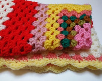 Crochet Baby Blanket - Pink, Red, Yellow - Charity Listing