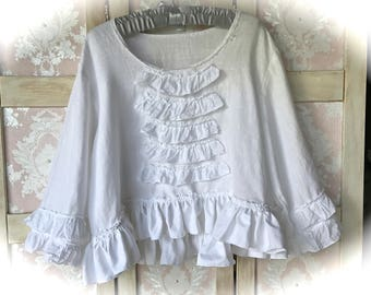 Sweet Magnolia White Rustic Ruffled Linen Tunic Size XL