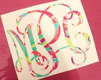 Lulu Flamingo Purple Pink Aqua Lime Lilly Pulitzer Print Inspired Monogram Vinyl Decal Personalized Custom Sticker