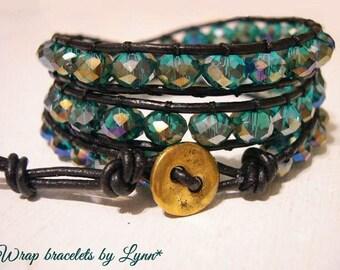 Beaded wrap bracelet,Leather Wrap Bracelet, Triple Wrap, Boho bracelet - 976