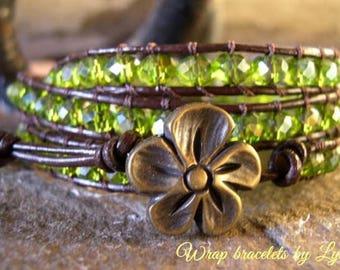 Beaded wrap bracelet,Leather Wrap Bracelet, Triple Wrap, Boho bracelet - 979