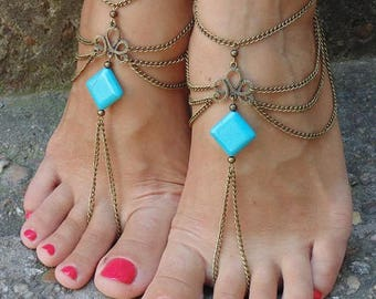 Turquoise Barefoot Sandals Boho Anklet Foot Jewelry Bohemian sandals Beach Sandals Beach Wedding Bronze Gypsy Sandals Foot Thong