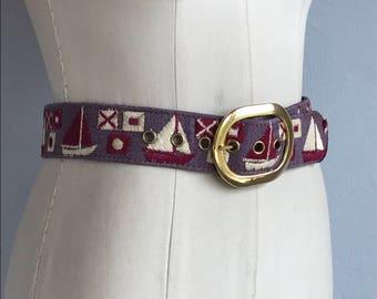 Vintage 1970s Belt / 70s Nautical Sailboat Novelty Hip Hugger Belt / Denim Belt