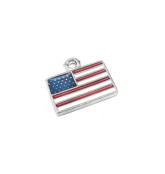 American Flag Charm - Patriotic Jewelry - Red White Blue - Nickel Free Pewter Charm - Sterling Silver Alternative - Made in the U.S.A.