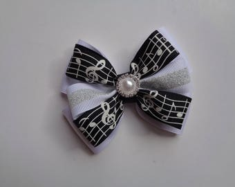 SALE! Black and White Music Notes Bow, Ballet Birthday Gift, Music Birthday Gift, Music Recital Gift