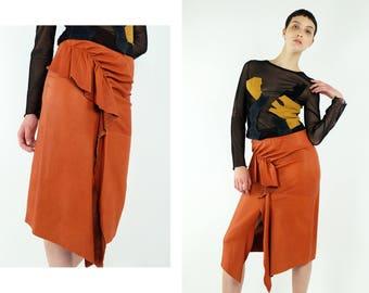JEAN Paul GAULTIER Femme Cognac Orange Leather Skirt