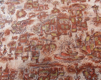 cityscape novelty print vintage cotton fabric -- 36 wide by 2 1/2 yards