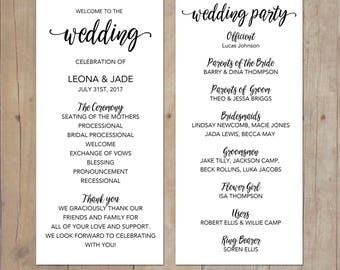 Calligraphy Wedding Program Printable or Printed Cards We customize - YOU print