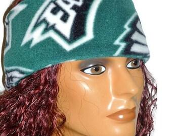 ON SALE Philadelphia Sports Team Headband/Hat Repurposed Green Fleece Upcycled Stretch Fabric
