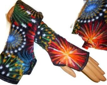 ON SALE Fingerless Gloves Arm Warmers Celebration Fireworks Print FleeceVintage Homemade Style