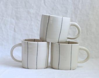 Spider Mug Black Striped Porcelain Mug Ready to Ship