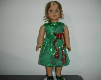 "18"" Doll American Girl Style Stunning Green Christmas Dress"