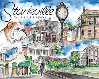 Original Starkville MS Watercolor Painting // Mississippi State Bulldog Art
