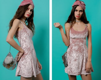 Blush PINK Crushed VELVET 70s Glam Inspired Fit & Flare A-Line Mini Gia DRESS by Wallflower